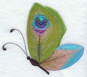 A butterfly with peacock patterned wings machine embroidery design.