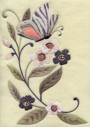 A butterfly with zebra stripe patterned wings flies among spring flowers.