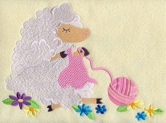 A crafty sheep crochets a sweater.