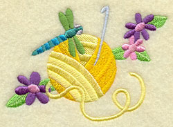 Knitting needles, yarn, a dragonfly, and flowers.