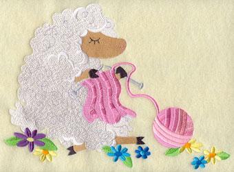 A crafty sheep knits a sweater.