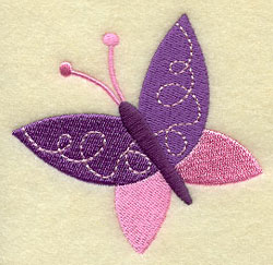 A whimsical butterfly floats through the air.