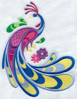 A peacock with an elaborately plumed tail machine embroidery design.