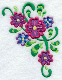 Swirls and flowers in a pretty embroidery design.