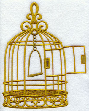 An ornate antique Victorian-style birdcage sits empty with an open door.