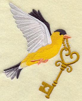 A bird flies with a heart-shaped antique birdcage key in its beak.