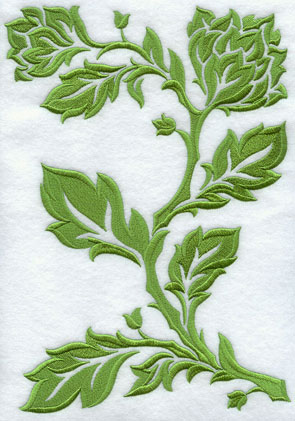 A pretty feathered damask branch machine embroidery design.
