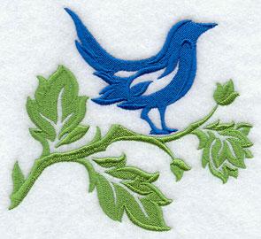 A damask bird sits on a damask branch.