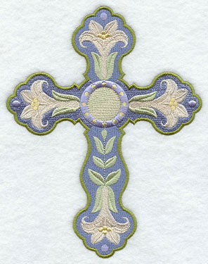 A machine embroidery Easter cross decorated with lilies.