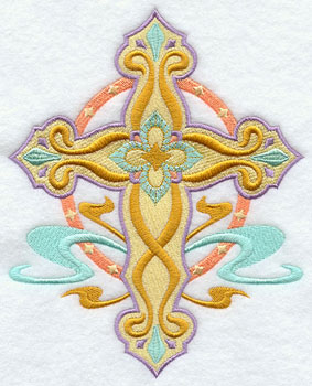Swirls and diamonds decorate a machine embroidered cross.