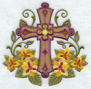Flowers and leaves surround a machine embroidery design of a cross.