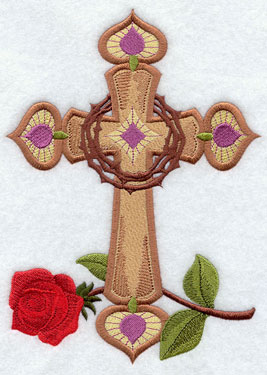 Crowns of thorns and a rose decorate an elegant cross design.