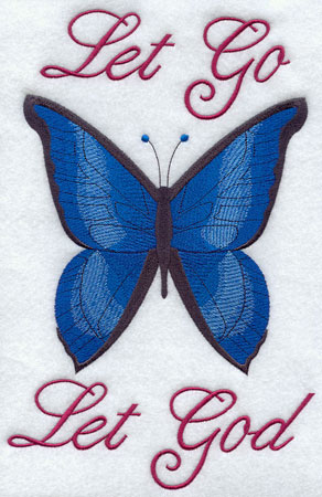 Inspirational quote Let go let God decorated with a butterfly.
