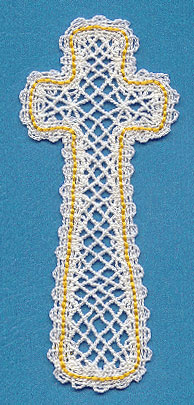 A Battenburg lace cross bookmark.
