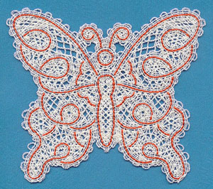 Machine embroidery design Battenburg lace butterfly.