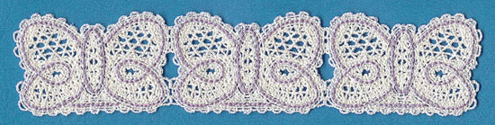 An embroidered Battenburg lace butterfly border.