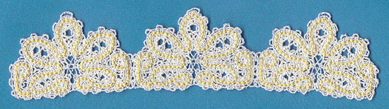 A floral border done in machine embroidery Battenburg lace.