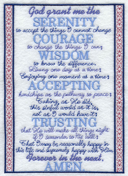 The long version of the Serenity Prayer, surrounded by a decorated embroidered frame.