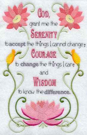 The Serenity Prayer in machine embroidery design, decorated with flowers and swirls.