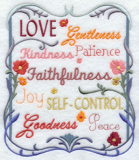 Love, gentleness, patience and other inspirational words in a frame of flowers.