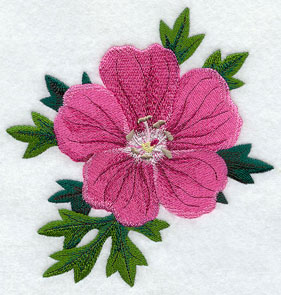 Bloody cranesbill (Irish wildflower) machine embroidery design.