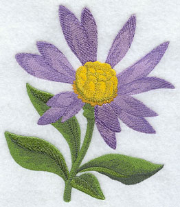 Sea aster (Irish wildflower) machine embroidery design.