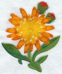 Fox-and-cubs (Irish wildflower) machine embroidery design.