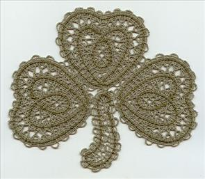 A delicate freestanding lace St. Patrick's day Irish lucky shamrock on Battenburg lace.