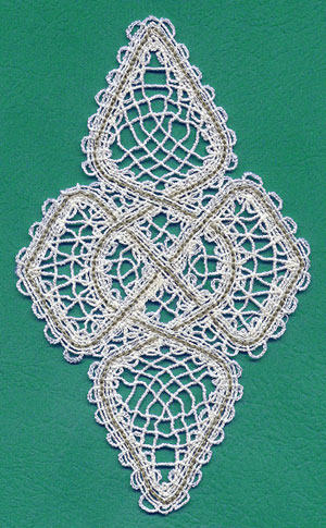 A fsl Battenburg lace Celtic knotwork design.
