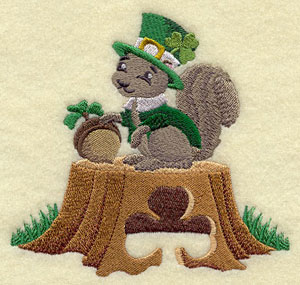 A Saint Patrick's day squirrel with a tophat and shamrock machine embroidery design.