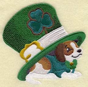 A Saint Patrick's day puppy dog with a tophat and shamrock machine embroidery design.