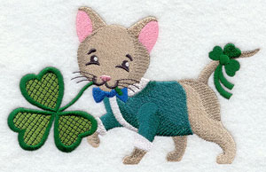 A Saint Patrick's day kitty cat with a shamrock machine embroidery design.