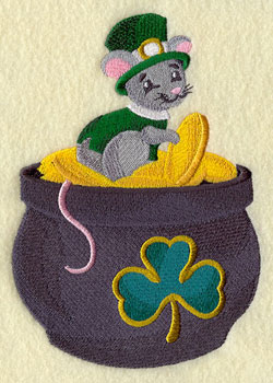 A Saint Patrick's day mouse with a tophat and pot of gold machine embroidery design.