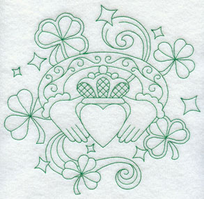 A greenwork Irish claddagh machine embroidery design.