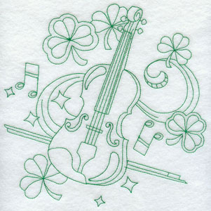 Irish music design with a fiddle and shamrocks in light stitching greenwork.