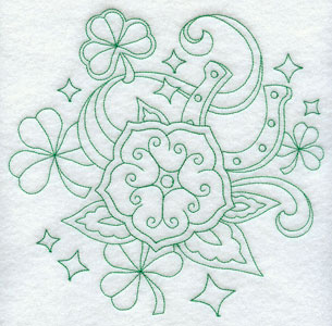 An Irish wildflower and shamrocks in machine embroidery greenwork design.