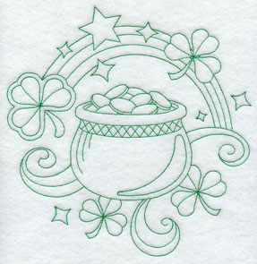 A pot of gold and shamrocks in quick stitching greenwork embroidery.
