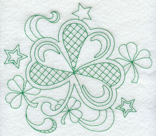 A quick stitching greenwork shamrock.