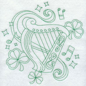 A greenwork Celtic harp machine embroidery design.