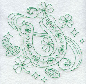 A horsehoe greenwork machine embroidery design.