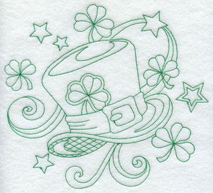Stars and shamrocks swirl around a leprechaun's tophat in a greenwork design.