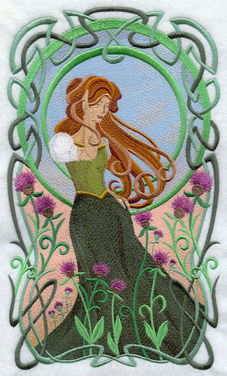 A Celtic woman walks through Irish wildflowers in a lovely Art Nouveau panel.