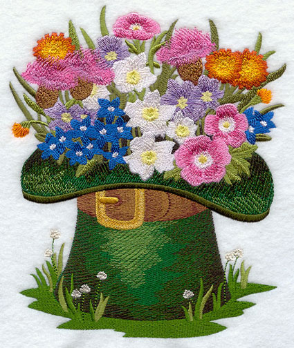 Irish wildflowers bloom from a leprechaun's hat in a lovely Saint Patrick's day design.