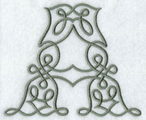 Machine embroidery design Celtic knotwork alphabet.