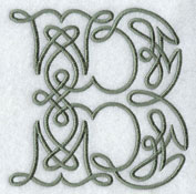 Machine embroidery design Celtic knotwork letters.