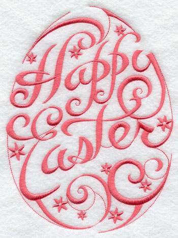 Happy Easter in script inside an egg shape machine embroidery design.