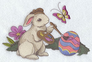 A vintage style design with a bunny painting an Easter egg.