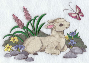 A lamb sits in flowers, watching a butterfly.