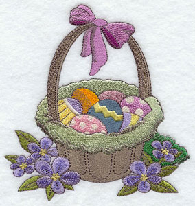 A machine embroidered Easter basket full of eggs.