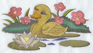 A duckling floating on a flower filled pond machine embroidery design.